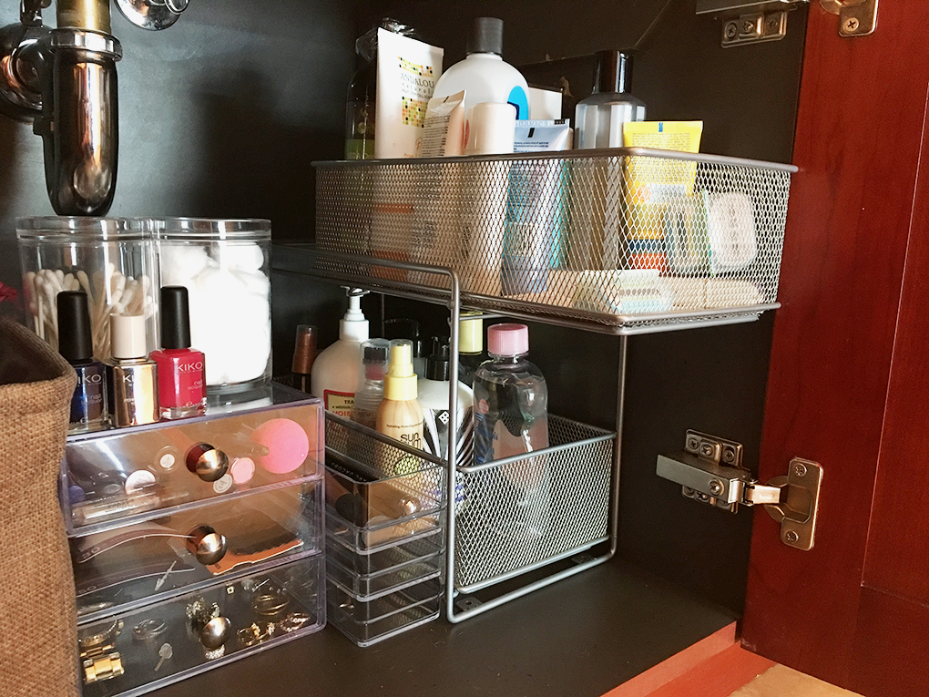 bathroom organization right cabinet pull out wire drawers out