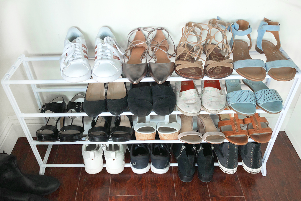 closet organization shoe rack