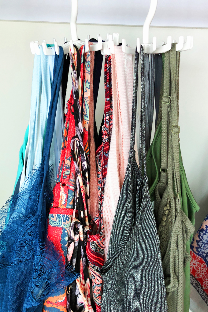 closet organization hacks tank top rotation hanger