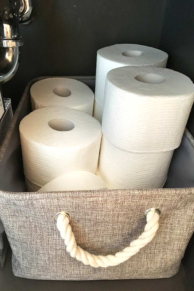 bathroom organization left toilet paper bin