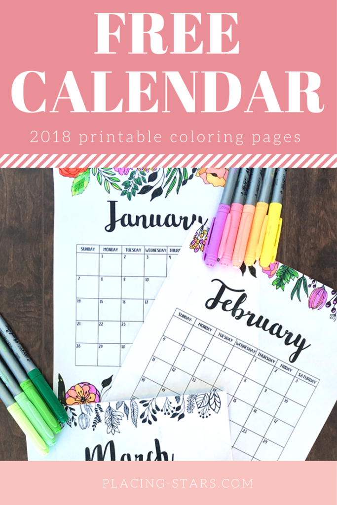 free calendar 2018 coloring pages