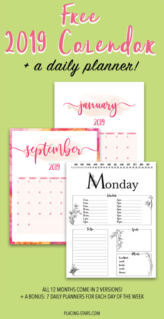 photo about Daily Printable Calendar identified as Absolutely free 2019 Printable Calendar + A Day by day Planner